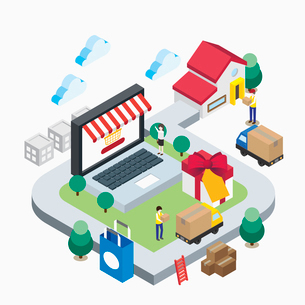 Illustration representing e-commerceのイラスト素材 [FYI02337838]