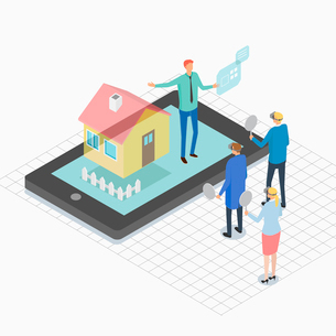 Virtual reality related to real estate businessのイラスト素材 [FYI02337855]