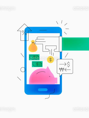 Mobile banking in smart ageのイラスト素材 [FYI02337860]