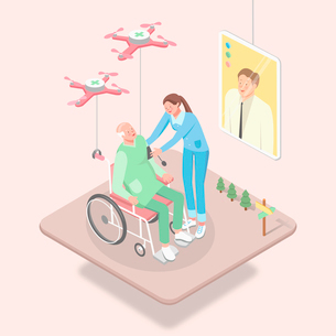 Drone high-technology related to medical treatmentのイラスト素材 [FYI02337861]