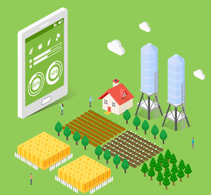 Farming industry in smart ageのイラスト素材 [FYI02337953]
