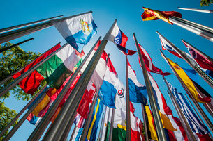 Flags on steel masts, flying in the wind, Munich, Upperの写真素材 [FYI02338056]