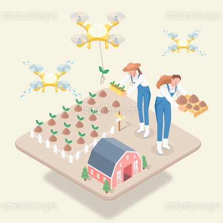 Drone high-technology related to farmingのイラスト素材 [FYI02338104]