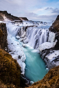 Gullfoss waterfall, with ice and stones, Vik, Icelandの写真素材 [FYI02338254]
