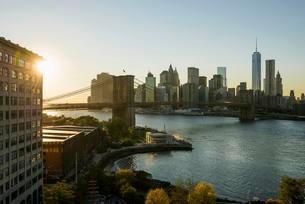 Skyline and Brooklyn Bridge, sunset, Downtown, Dumbo, Newの写真素材 [FYI02338387]