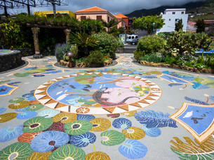 Floor mosaic, Plaza La Glorieta, designed by Luis Moreraの写真素材 [FYI02338558]