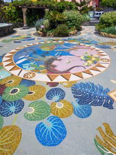 Floor mosaic, Plaza La Glorieta, designed by Luis Moreraの写真素材 [FYI02338767]