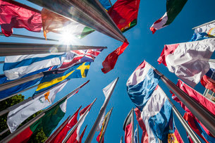 Flags on steel masts, flying in the wind, Munich, Upperの写真素材 [FYI02338768]