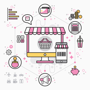 Infographic illustration related to e-commerceのイラスト素材 [FYI02338923]
