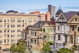 Old houses in Alamo Square, known as the Painted Ladiesの写真素材 [FYI02338931]