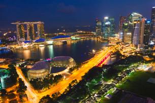 Marina Bay, at night, Singapore, Asiaの写真素材 [FYI02338939]