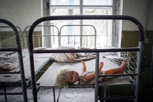 Dormitory, abandoned kindergarten of a village in theの写真素材 [FYI02338996]