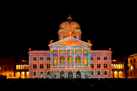 Rendez-vous Bundesplatz, light installation at the Federalの写真素材 [FYI02339087]