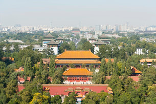 View of the city from Coal Hill, Jingshan Park, Jing Shanの写真素材 [FYI02339103]