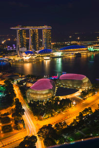 Marina Bay, at night, Singapore, Asiaの写真素材 [FYI02339109]