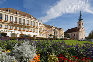 Town Hall, old Sparkasse bank building and parish church inの写真素材 [FYI02339125]