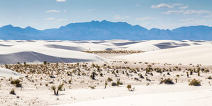 Sand dunes, desert panorama, mountains behind, White Sandsの写真素材 [FYI02339194]