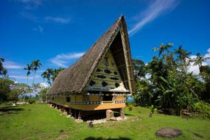 Traditional Bai, men's house, Babeldaob, Palau, Oceaniaの写真素材 [FYI02339196]