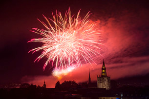 Fireworks, Seenachtsfest festival 2014 with Constanceの写真素材 [FYI02339201]