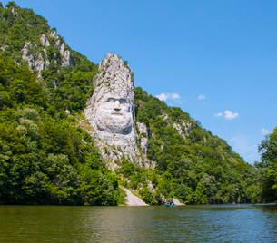 Rock sculpture of Decebalus, Iron Gates Natural Parkの写真素材 [FYI02339243]