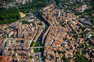 Aerial view, Girona Cathedral and Sant Feliu Church, oldの写真素材 [FYI02339271]