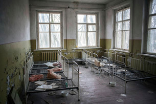 Dormitory, abandoned kindergarten of a village in theの写真素材 [FYI02339282]