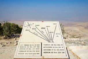 Display board with signposts to the Jordan Valley and theの写真素材 [FYI02339308]