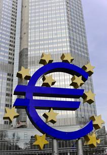 EURO sign at the ECB, European Central Bank, Frankfurt amの写真素材 [FYI02339367]