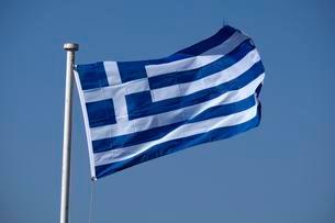 Greek flag, Rhodes, Dodecanese, Greece, Europeの写真素材 [FYI02339389]
