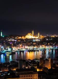 Cityscape, Suleymaniye Mosque, Golden Horn, Bosphorusの写真素材 [FYI02339398]
