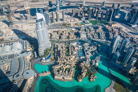 View from Burj Khalifa, Dubai, Emirate of Dubai, Unitedの写真素材 [FYI02339477]