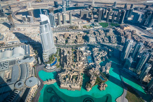 View from Burj Khalifa, Dubai, Emirate of Dubai, Unitedの写真素材 [FYI02339477]