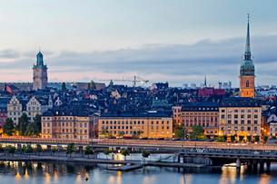 View of the historic centre, Gamla Stan, Stockholm, Swedenの写真素材 [FYI02339503]