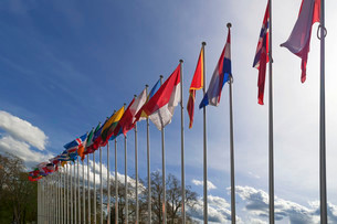 International flags in front of the building of the Councilの写真素材 [FYI02339534]