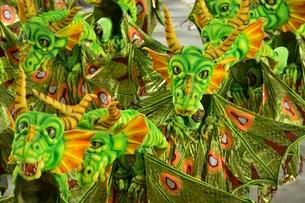 Dancers dressed as dragons, parade of the samba schoolの写真素材 [FYI02339574]