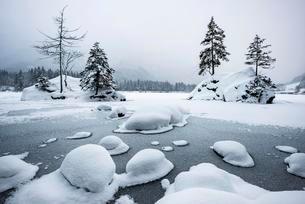 Frozen lake Hintersee in winter, Ramsau, Berchtesgadenの写真素材 [FYI02339578]