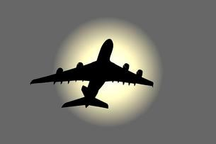 Airplane, A380, silhouetteの写真素材 [FYI02339600]