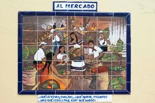 Tile painting of a market scene, San Jose Downtown, Sanのイラスト素材 [FYI02339606]