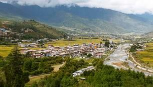 Overlooking Paro with the Paro River or Pa Chu and yellowの写真素材 [FYI02339612]