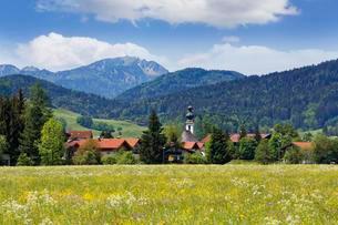 Townscape, Hochfelln mountain behind, Chiemgau Alpsの写真素材 [FYI02339659]