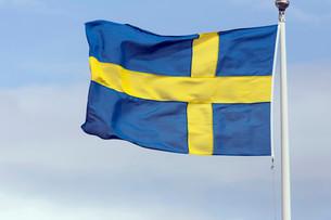 Swedish national flag, Stockholm, Sweden, Europeの写真素材 [FYI02339672]