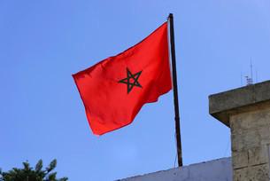 Moroccan national flag, Morocco, Africaの写真素材 [FYI02339732]