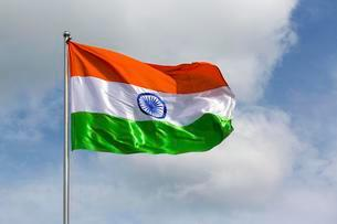 Indian flag blowing in windの写真素材 [FYI02339784]