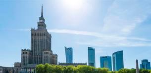 Palace of Culture, Science Palace and skyscrapers, skylineの写真素材 [FYI02339802]