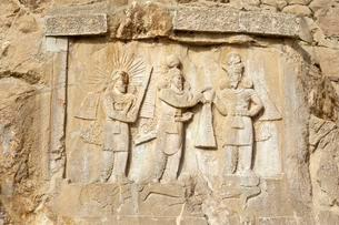 Rock relief from the Sassanid Empire, coronation ceremonyの写真素材 [FYI02339849]