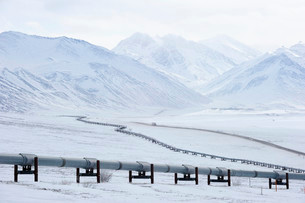 Oil pipeline from Prudhoe Bay to Valdez in the Arcticの写真素材 [FYI02339909]