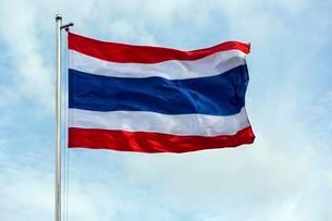 Thai flag blowing in windの写真素材 [FYI02339947]