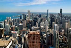 Chicago skyline and Lake Michigan, view from John Hancockの写真素材 [FYI02339953]