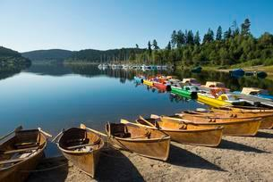 Morning atmosphere with rowboats, Schluchsee lake, Blackの写真素材 [FYI02339978]