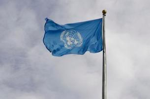 The United Nations flag, United Nations Buildingの写真素材 [FYI02339980]
